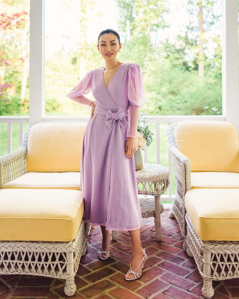 "<p><a href=""https://www.popsugar.com/buy/Drop-Lavendula-Ruched-Long-Sleeve-V-Neck-Wrap-Dress-584020?p_name=The%20Drop%20Lavendula%20Ruched%20Long-Sleeve%20V-Neck%20Wrap%20Dress&retailer=amazon.com&pid=584020&price=80&evar1=fab%3Auk&evar9=47548803&evar98=https%3A%2F%2Fwww.popsugar.com%2Ffashion%2Fphoto-gallery%2F47548803%2Fimage%2F47555468%2FBeautiful-Wrap-Dress&list1=shopping%2Camazon%2Csummer%20fashion&prop13=api&pdata=1"" rel=""nofollow"" data-shoppable-link=""1"" target=""_blank"" class=""ga-track"" data-ga-category=""Related"" data-ga-label=""https://www.amazon.com/dp/B0896P97FL/ref=thedrp_hm_stlk_dp?theDropLookIdDpx=fa483a20-6d6a-4b8f-9776-a4b340ff2d53"" data-ga-action=""In-Line Links"">The Drop Lavendula Ruched Long-Sleeve V-Neck Wrap Dress </a> ($80)</p>"