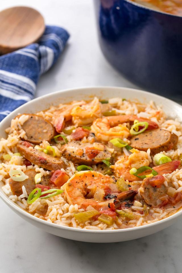"""<p><span>More like YUMbo.</span></p><p>Get the recipe from <a href=""""http://www.delish.com/cooking/recipe-ideas/recipes/a54681/easy-seafood-gumbo-recipe/"""" rel=""""nofollow noopener"""" target=""""_blank"""" data-ylk=""""slk:Delish"""" class=""""link rapid-noclick-resp"""">Delish</a>.</p><p><em><strong>BUY NOW: Le Creuset Cast-Iron 12"""" Skillet, $200; </strong></em><em><strong><a href=""""https://www.amazon.com/Creuset-Signature-Handle-Skillet-4-Inch/dp/B00B4UOTBQ/?tag=syndication-20"""" rel=""""nofollow noopener"""" target=""""_blank"""" data-ylk=""""slk:amazon.com"""" class=""""link rapid-noclick-resp"""">amazon.com</a>.</strong></em><br></p>"""