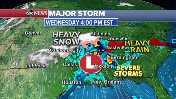 PHOTO: To the East, heavy rain and severe storms are expected from New Orleans, Louisiana, to Birmingham Alabama, where damaging winds and a few tornadoes are possible. (ABC News)