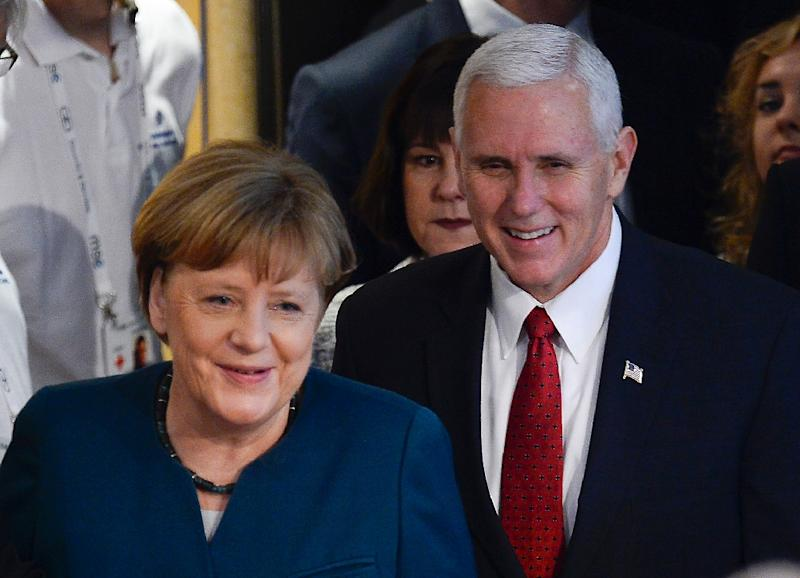German Chancellor Angela Merkel and US Vice President Mike Pence pictured in Munich, southern Germany, on February 18, 2017 (AFP Photo/THOMAS KIENZLE)