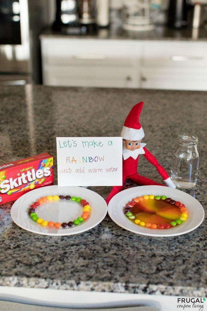 """<p>""""Let's make a rainbow,"""" reads the note that accompanies this sweet activity. """"Just add warm water."""" As soon as you or your children do exactly that, you'll see a rainbow of color appear.</p><p><strong>Get the tutorial at <a href=""""https://www.frugalcouponliving.com/elf-skittles-rainbow-experiment/"""" rel=""""nofollow noopener"""" target=""""_blank"""" data-ylk=""""slk:Frugal Coupon Living"""" class=""""link rapid-noclick-resp"""">Frugal Coupon Living</a>.</strong></p><p><strong><a class=""""link rapid-noclick-resp"""" href=""""https://go.redirectingat.com?id=74968X1596630&url=https%3A%2F%2Fwww.walmart.com%2Fbrowse%2Fhome%2Fthe-pioneer-woman-dish-sets%2F4044_623679_639999_9763521_2314525&sref=https%3A%2F%2Fwww.thepioneerwoman.com%2Fholidays-celebrations%2Fg34080491%2Ffunny-elf-on-the-shelf-ideas%2F"""" rel=""""nofollow noopener"""" target=""""_blank"""" data-ylk=""""slk:SHOP DINNERWARE"""">SHOP DINNERWARE</a><br></strong></p>"""