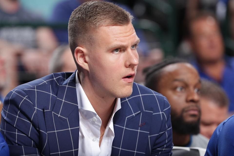 DALLAS, TX - MARCH 26: Kristaps Porzingis #6 of the Dallas Mavericks looks on during the game against the Sacramento Kings on March 26, 2019 at the American Airlines Center in Dallas, Texas. NOTE TO USER: User expressly acknowledges and agrees that, by downloading and/or using this photograph, user is consenting to the terms and conditions of the Getty Images License Agreement. Mandatory Copyright Notice: Copyright 2019 NBAE (Photo by Glenn James/NBAE via Getty Images)