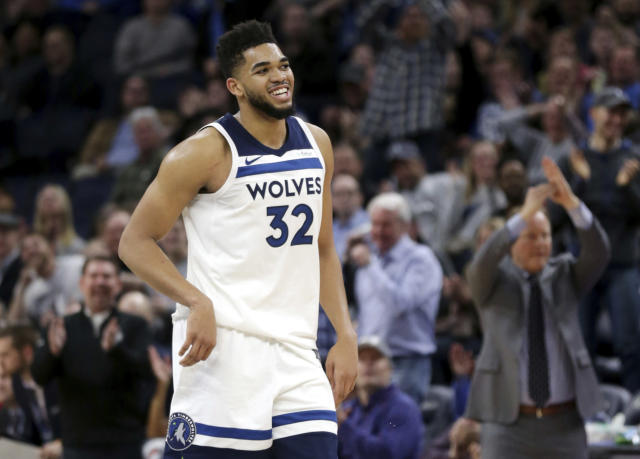 Karl-Anthony Towns gave Wolves fans plenty of reasons to smile on Wednesday night. Fifty-six of them, if you're keeping score. (AP)
