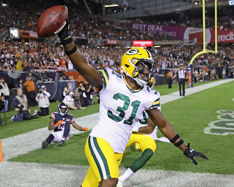 Adrian Amos #31 of the Green Bay Packers celebrates after intercepting a pass in the end zone against the Chicago Bears at Soldier Field on September 05, 2019 in Chicago, Illinois. The Packers defeated the Bears 10-3. (Photo by Jonathan Daniel/Getty Images)