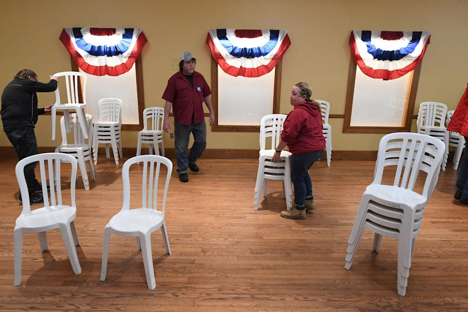 Chairs are put up after former South Bend, Indiana, Mayor Pete Buttigieg appeared at a town hall event on Jan. 29 in Mason City, Iowa. The Iowa caucuses are Feb. 3. (Photo: The Washington Post via Getty Images)