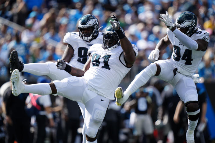 Philadelphia Eagles defensive tackle Fletcher Cox celebrates after a sack against the Carolina Panthers during the second half of an NFL football game Sunday, Oct. 10, 2021, in Charlotte, N.C. (AP Photo/Jacob Kupferman)