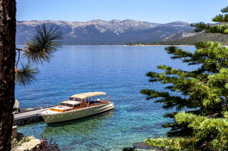 """<p>The famous <a href=""""https://visitinglaketahoe.com/"""" rel=""""nofollow noopener"""" target=""""_blank"""" data-ylk=""""slk:Lake Tahoe"""" class=""""link rapid-noclick-resp"""">Lake Tahoe</a> is the largest alpine lake in North America at 1,645 feet deep, 22 miles long, and 12 miles wide. Go north or south to get different experiences of this beautiful lake: North Lake Tahoe is perfect for skiing, while Tahoe South also offers a view of the most stunning waterfalls you'll ever see.</p>"""