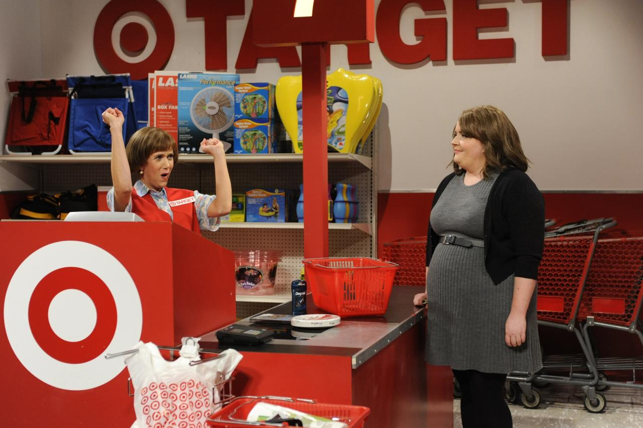 """Welcome to Target!  It's no surprise that <a href=""""https://www.youtube.com/watch?v=ZXzNp2Vq7CQ"""">this character</a> was one of the reasons Wiig scored a spot on<em>Saturday Night Live</em>. She used the character in her audition reel!"""