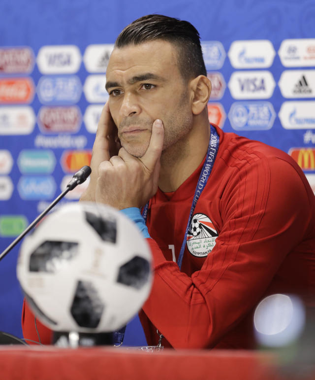 Egypt goalkeeper Essam El Hadary attends an official press conference on the eve of the group A match between Egypt and Uruguay at the 2018 soccer World Cup in the Yekaterinburg Arena in Yekaterinburg, Russia, Thursday, June 14, 2018. (AP Photo/Natacha Pisarenko)