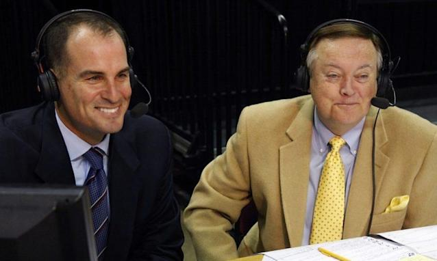 Mike Patrick (R) covered multiple sports for ESPN, including college football and the NFL. (ESPN)