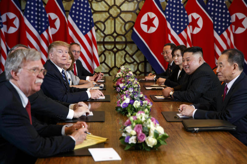 FILE - In this Feb. 28, 2019, file photo, President Donald Trump speaks during a meeting with North Korean leader Kim Jong Un Thursday, Feb. 28, 2019, in Hanoi. At front right is Kim Yong Chol, a North Korean senior ruling party official and former intelligence chief. At left is national security adviser John Bolton. The head of South Korean parliament's intelligence committee, Lee Hye-hoon, on Wednesday, April 24, 2019 cited South Korea's main spy agency as saying that Kim Yong Chol lost his Workers' Party post in charge of relations with South Korea. (AP Photo/ Evan Vucci, File)