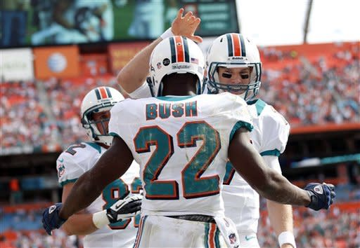 Miami Dolphins quarterback Ryan Tannehill (17) congratulates running back Reggie Bush (22) after Bush scored a touchdown during the first half of an NFL football game against the Buffalo Bills, Sunday, Dec. 23, 2012, in Miami. (AP Photo/John Bazemore)