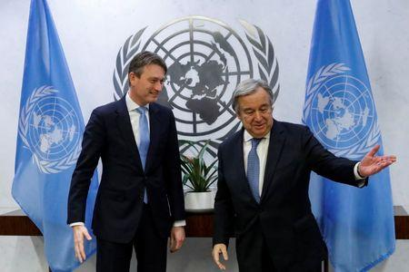 Dutch Foreign Minister Halbe Zijlstra meets with United Nations Secretary-General Antonio Guterres at U.N. headquarters in New York