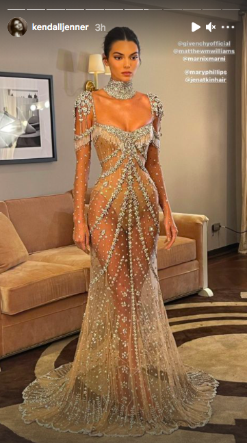 <p>Jenner shared a photograph of her My Fair Lady-inspired Givenchy dress on Instagram. We're loving the ice. </p>