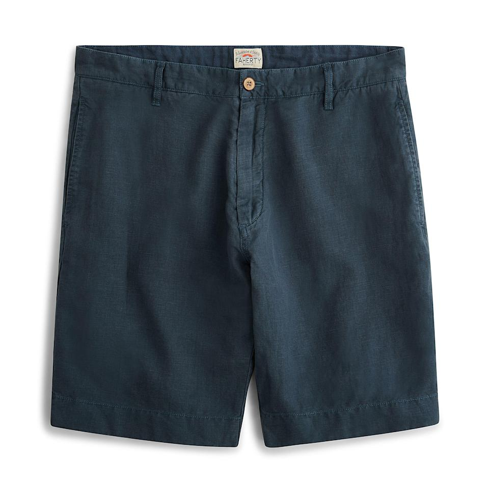 """<p><strong>Faherty Brand</strong></p><p>huckberry.com</p><p><a href=""""https://go.redirectingat.com?id=74968X1596630&url=https%3A%2F%2Fhuckberry.com%2Fstore%2Ffaherty-brand%2Fcategory%2Fp%2F57236-stretch-malibu-short&sref=https%3A%2F%2Fwww.menshealth.com%2Fstyle%2Fg33472054%2Fhuckberry-semi-annual-summer-sale-mens-deals%2F"""" rel=""""nofollow noopener"""" target=""""_blank"""" data-ylk=""""slk:BUY IT HERE"""" class=""""link rapid-noclick-resp"""">BUY IT HERE</a></p><p><del>$98.00</del><strong><br>$58.98</strong></p><p>If you want to give your sweatpants a rest and wear (gasp!) real clothes, this pair of shorts has just enough stretch to keep you comfortable. </p>"""