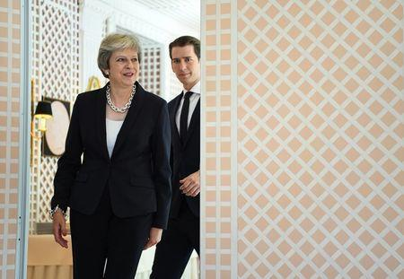 Britain's Prime Minister Theresa May and Austria's Chancellor Sebastian Kurz arrive for a media statement in Salzburg, Austria, July 27, 2018. REUTERS/Andreas Gebert