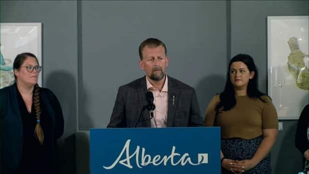 Mike Ellis, Alberta's associate minister for mental health and addictions, announced the new funding on Tuesday. (YourAlberta/YouTube - image credit)