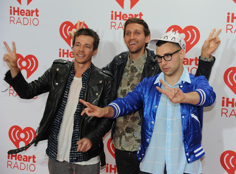 "In this photo provided by the Las Vegas News Bureau, American indie pop band ""FUN""walk the red carpet at the MGM Grand Hotel during the iHeartRadio Music Festival in Las Vegas. Friday, Sept. 20, 2013. (AP Photo/Las Vegas News Bureau, Brian Jones)"