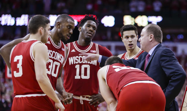 "The 2016-17 Wisconsin basketball team was one player short of unanimously attempting to boycott an NCAA game, according to former player <a class=""link rapid-noclick-resp"" href=""/ncaab/players/120669/"" data-ylk=""slk:Nigel Hayes"">Nigel Hayes</a>. (AP Photo)"