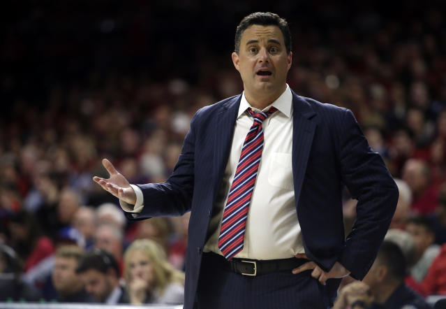 Arizona head coach Sean Miller in the first half during an NCAA college basketball game against Stanford, Thursday, March 1, 2018, in Tucson, Ariz. (AP Photo/Rick Scuteri)