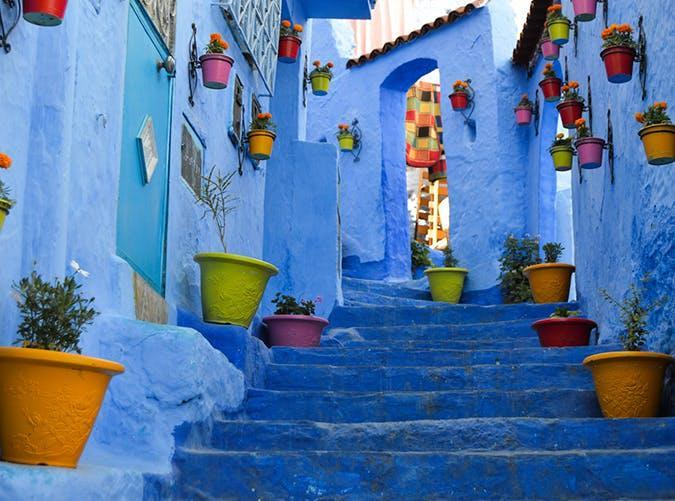 <p>Nicknamed the blue city, this locale in northern Morocco's Rif Mountains is known for its blue-washed walls, serpentine cobblestone streets and Moorish architecture.</p>