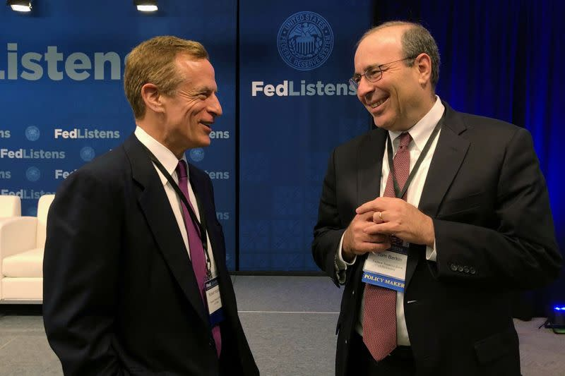 FILE PHOTO: Richmond Federal Reserve Bank President Thomas Barkin and Dallas Federal Reserve Bank President Robert Kaplan speak at the Chicago Federal Reserve Bank