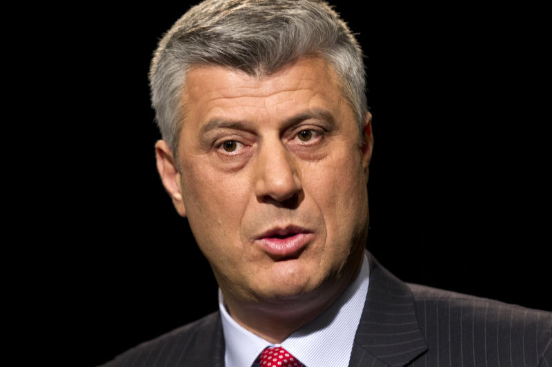 "FILE - Kosovo's Prime Minister Hashim Thaci is seen during an interview with The Associated Press in Washington, in this April 6, 2012 file photo. Thaci said in an interview with the Associated Press Friday Sept. 28, 2012 that Kosovo and Serbia must normalize relations soon to begin integrating with Europe, but he insists that partition of his country's Serb-dominated northern enclave ""will never happen."" (AP Photo/J. Scott Applewhite, File)"