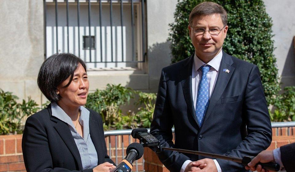 US Trade Representative Katherine Tai and Valdis Dombrovskis, trade commissioner for the European Union, speak to reporters in Washington on Tuesday. Photo: Bloomberg