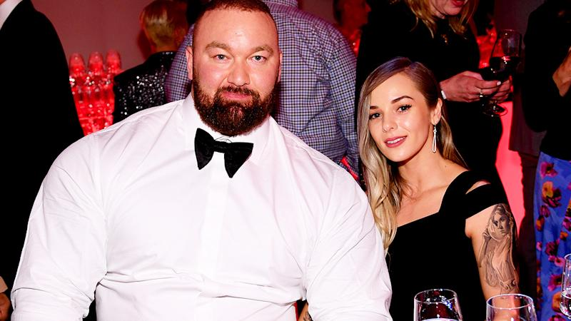 Hafthor Bjornsson and wife Kelsey Henson, pictured here at the 'Game Of Thrones' Season 8 Premiere After Party in 2019.