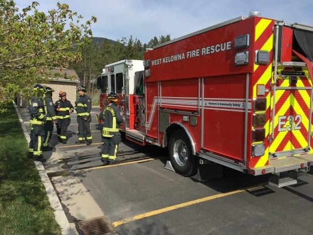 West Kelowna Fire Rescue says all its resources, including off-duty staff, were needed to respond to the two simultaneous fires as well asmaintain protection for the rest of the city. (West Kelwona Fire Rescue / twitter - image credit)