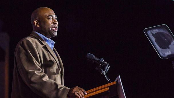 PHOTO: Jaime Harrison speaks during an election night party in Columbia, S.C., Nov. 3, 2020. (Bloomberg via Getty Images, FILE)