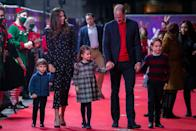 <p>All three Cambridge children came out on Friday evening (December 11), when they joined their parents, Kate Middleton and Prince William for a festive night at the pantomime.</p><p>Louis, Charlotte and George (left to right) attended the show at London's Palladium which was put on to thank key workers during the Coronavirus pandemic.</p>