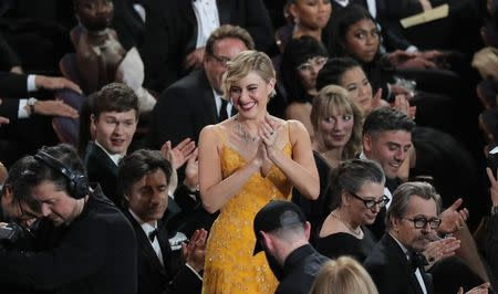 """90th Academy Awards - Oscars Show - Hollywood, California, U.S., 04/03/2018 - Greta Gerwig reacts as Guillermo del Toro is announced as Best Director for """"The Shape of Water."""" REUTERS/Lucas Jackson"""