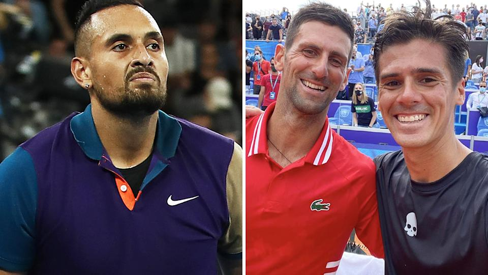 Nick Kyrgios has taken a potshot at world No.96 Federico Coria, after the Argentinian took a selfie with Novak Djokovic moments after a straight-sets loss to the Serbian. Pictures: Getty Images/Instagram