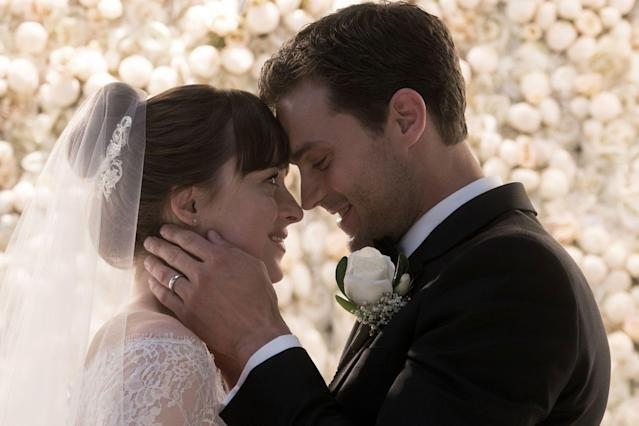 Dakota Johnson and Jamie Dornan in <em>Fifty Shades Freed. </em>(Photo: Universal Pictures)