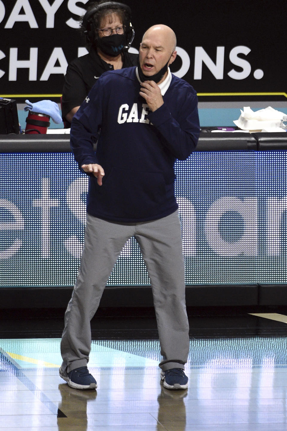 Saint Mary's head coach Randy Bennett calls to his team during the first half of an NCAA semifinal college basketball game against Gonzaga at the West Coast Conference tournament Monday, March 8, 2021, in Las Vegas. (AP Photo/David Becker)