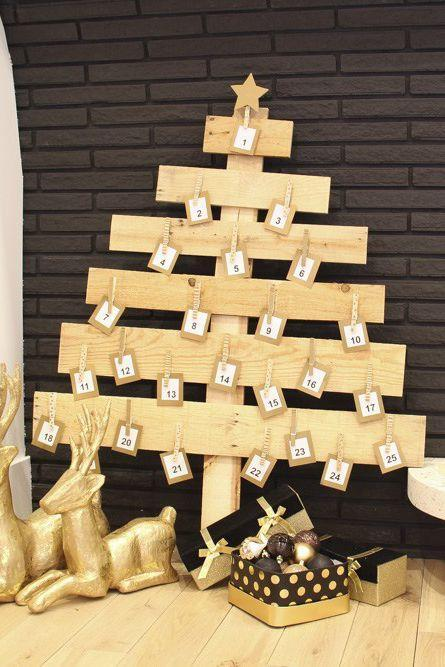 """<p>Deconstruct a pallet, use leftover planks, or round up some scrap wood to build this beauty. This tree's simple design means you can source your wood from just about anywhere. </p><p><strong>Get the tutorial at <a href=""""https://www.remodelaholic.com/diy-pallet-wood-christmas-tree-advent-calendar/"""" rel=""""nofollow noopener"""" target=""""_blank"""" data-ylk=""""slk:Remodelaholic"""" class=""""link rapid-noclick-resp"""">Remodelaholic</a>.</strong></p><p><strong><a class=""""link rapid-noclick-resp"""" href=""""https://www.amazon.com/Whitmor-Natural-Wood-Clothespins-100/dp/B002HRLL2U/?tag=syn-yahoo-20&ascsubtag=%5Bartid%7C10050.g.23322271%5Bsrc%7Cyahoo-us"""" rel=""""nofollow noopener"""" target=""""_blank"""" data-ylk=""""slk:SHOP CLOTHESPINS"""">SHOP CLOTHESPINS</a><br></strong></p>"""