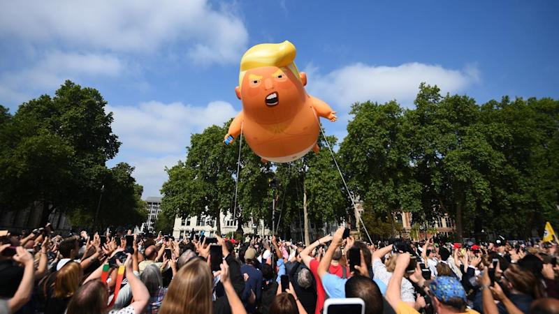 A 'Baby Trump' blimp has been inflated in London's Parliament Square, protesting his UK visit