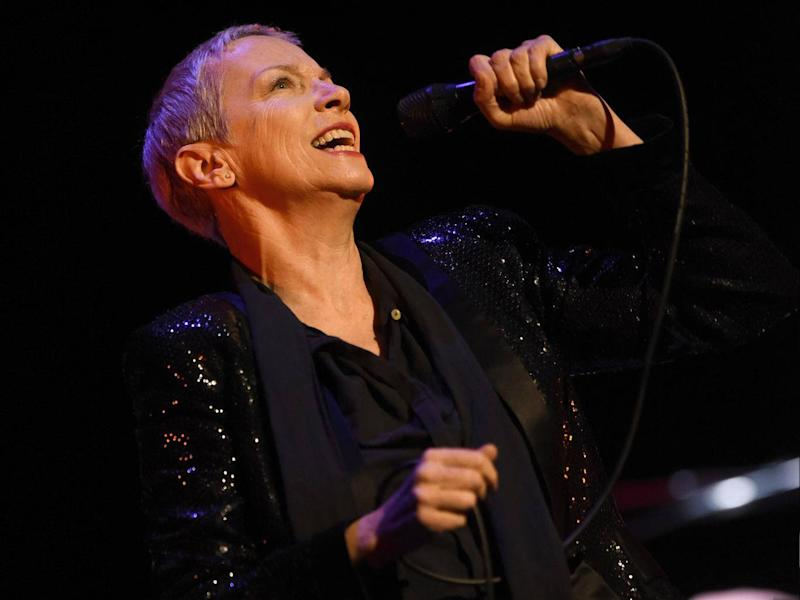 Lennox, 63, recently belted out Eurythmics anthems, crawling sensuously across the floor as she did so (Getty)