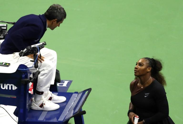 Serena Williams, right, complains to umpire Carlos Ramos after losing last year's US Open women's final to Japan's Naomi Osaka (AFP Photo/AL BELLO)