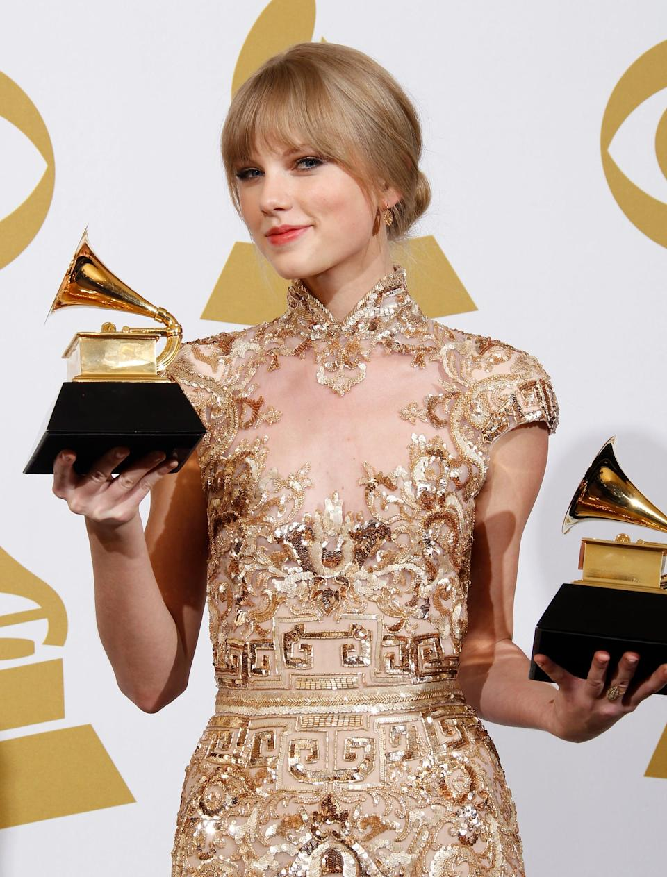 """<p><strong>Grammy nominations</strong>: 3</p> <ul> <li>Best country album, <strong>Speak Now</strong></li> <li>Best country solo performance, """"Mean""""</li> <li>Best country song, """"Mean""""</li> </ul> <p><strong>How many she won</strong>: 2; best country solo performance and best country song </p>"""