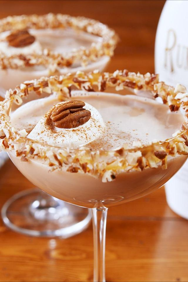 """<p>These martini's might <em>look</em> innocent, but trust us, they're STRONG. </p><p>Get the recipe from <a href=""""https://www.delish.com/cooking/recipe-ideas/a24132507/pecan-pie-martini-recipe/"""" target=""""_blank"""">Delish</a>. </p>"""