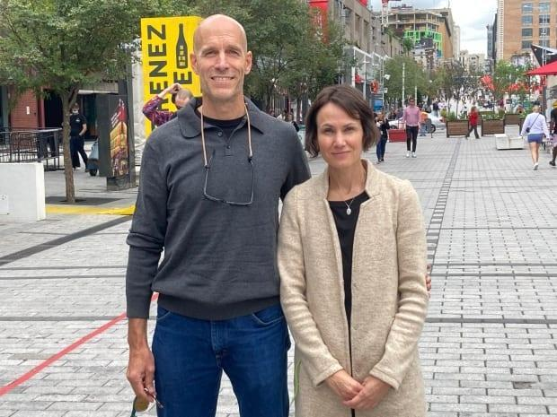 Pierre Boutin and Catherine Ricard's son Jules died after being struck by a school bus in 2019. They hope Quebec will implement the recommendations listed in a coroner's report that looked into Jules' death and are calling for a public inquiry into pedestrian safety.  (Submitted by Piétons Québec - image credit)
