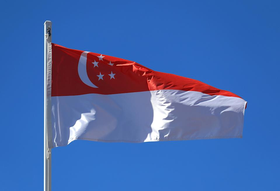 The flag of Singapore during day five of the 2018 Commonwealth Games in the Gold Coast, Australia.