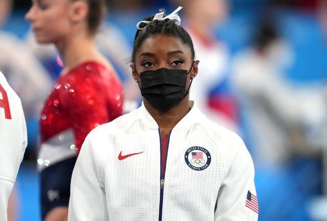 USA's Simone Biles looks on during the Women's Team Final after withdrawing through injury.