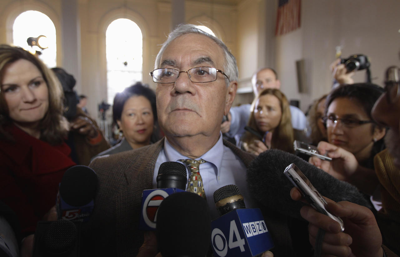 File - In this Nov. 28, 2011 file photo, Rep. Barney Frank, D-Mass., is surrounded by members of the media after announcing in Newton, Mass., he will not seek reelection in 2012. Frank's decision to retire is being met with dismay by members of the New England fishing industry, especially in New Bedford, a city he represents and the region's biggest port. (AP Photo/Stephan Savoia, File)
