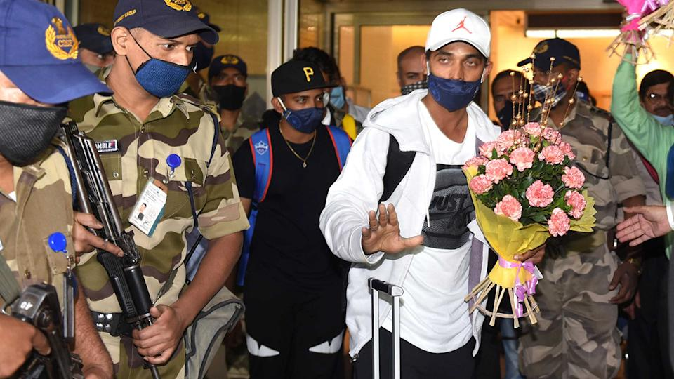 Indian batsman Ajinkya Rahane arrives at Mumbai Airport from Australia after the team's Border-Gavaskar trophy victory. (Photo by Satish Bate/Hindustan Times via Getty Images)