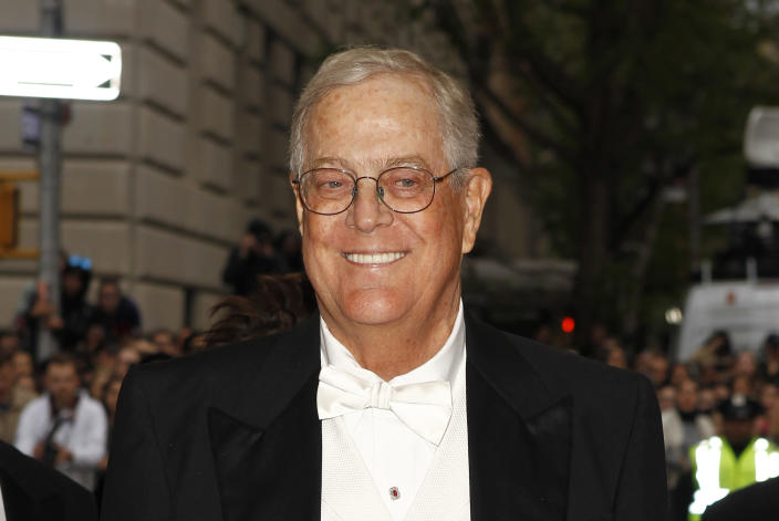 """Businessman David Koch arrives at the Metropolitan Museum of Art Costume Institute Gala Benefit celebrating the opening of """"Charles James: Beyond Fashion"""" in Upper Manhattan, New York May 5, 2014. REUTERS/Carlo Allegri (UNITED STATES - Tags: ENTERTAINMENT FASHION BUSINESS HEADSHOT)"""