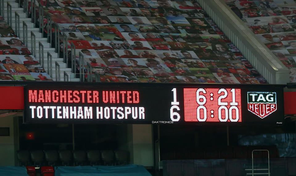 The final score is displayed on teh scoreboard after the English Premier League football match between Manchester United and Tottenham Hotspur at Old Trafford in Manchester, north west England, on October 4, 2020. - Tottenham won the game 1-6. (Photo by Alex Livesey / AFP) / RESTRICTED TO EDITORIAL USE. No use with unauthorized audio, video, data, fixture lists, club/league logos or 'live' services. Online in-match use limited to 120 images. An additional 40 images may be used in extra time. No video emulation. Social media in-match use limited to 120 images. An additional 40 images may be used in extra time. No use in betting publications, games or single club/league/player publications. / (Photo by ALEX LIVESEY/AFP via Getty Images)