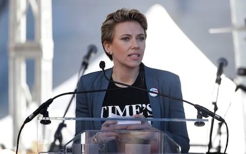 Actress Scarlett Johansson speaks at a Women's March against sexual violence and the policies of the Trump administration - Credit: AP